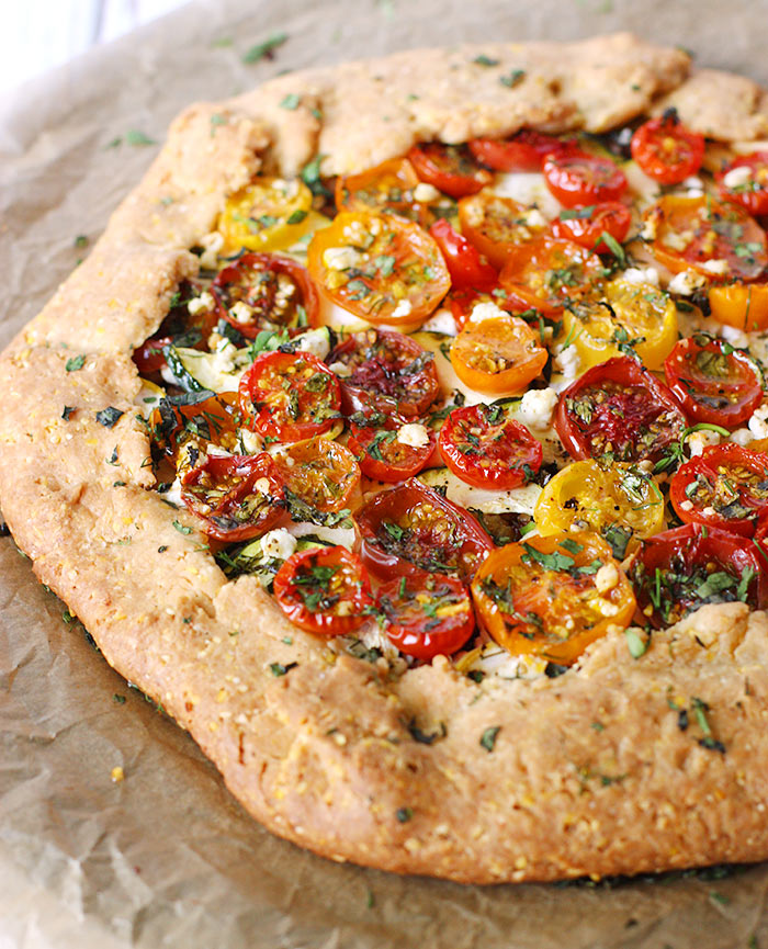 Loaded Heirloom Tomato Galette with Cornmeal Crust from SoupAddict.com