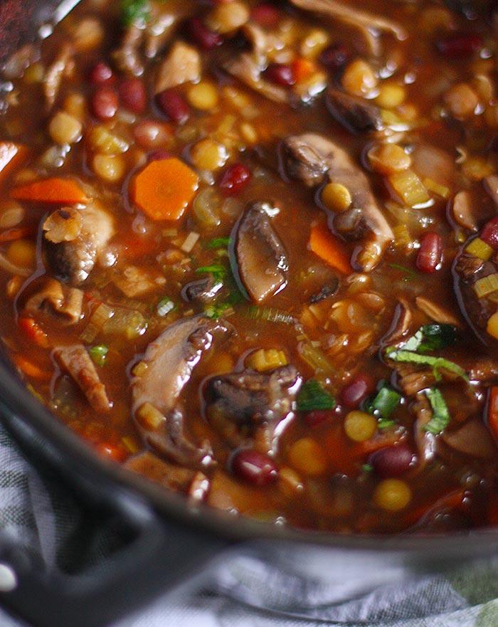 Mushroom Lentil Adzuki Bean Soup | SoupAddict.com