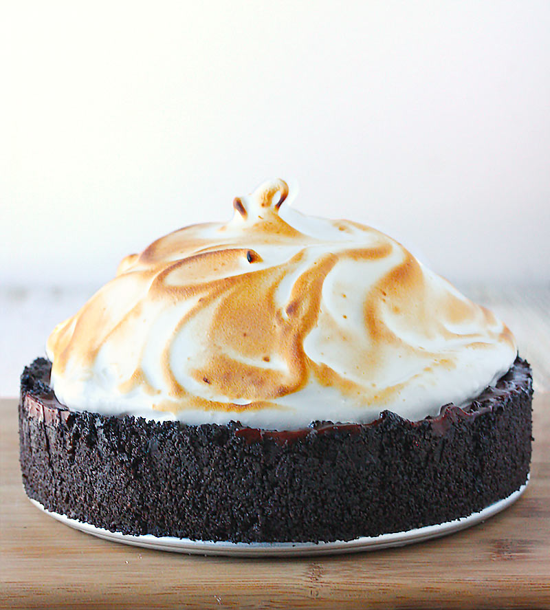 No Bake Chocolate Creme Pie with Swirly Meringue from SoupAddict.com