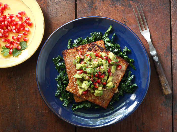 Pan Seared Tofu with Avocado Pomegranate Salsa | SoupAddict.com