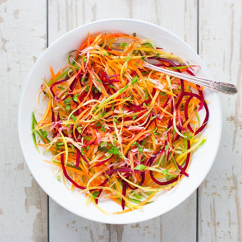 Rainbow Ribbon Veggie Salad from SoupAddict.com