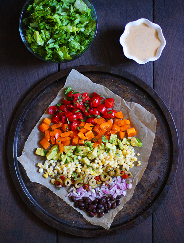 Seven Layer Salad with Creamy Salsa Vinaigrette from SoupAddict.com