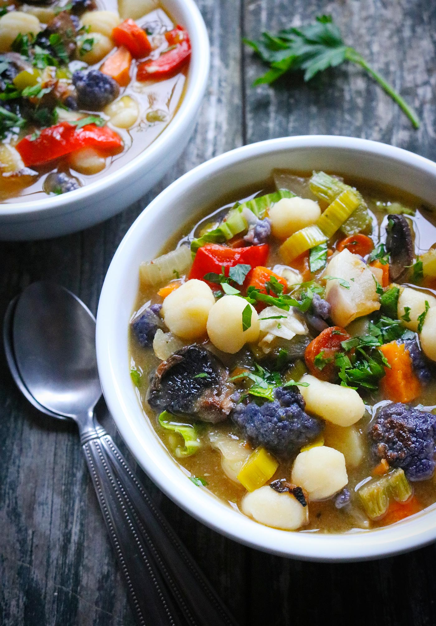 Sheet Pan Roasted Vegetable Soup with Gnocchi from Soupaddict.com