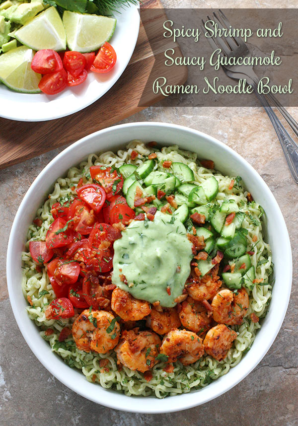 Pinnable overhead photo of Spicy Shrimp and Saucy Guacamole Ramen Noodle Bowl with a side of lime wedges