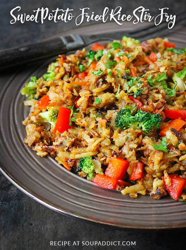 Healthy but filling and gently spiced, Sweet Potato Fried Rice Stir Fry is a weeknight-easy vegetarian soup that the whole family will love! Recipe at SoupAddict.com