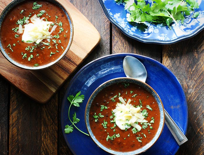 Sweet and Smoky Sriracha Black Bean Soup by SoupAddict.com