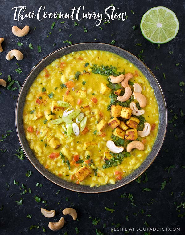 Thai Coconut Curry Stew - a warming, comfort food meal that's perfectly spiced with savory curry and Thai flavors like ginger, lemongrass, and kaffir leaves. Pan-fried, curry-rubbed tofu and rice round out this filling, satisfying stew. Recipe at SoupAddict.com | vegetarian stew | stew recipe | healthy stew | vegan stew | gluten-free | coconut curry soup | thai stew | tofu | food in bowls