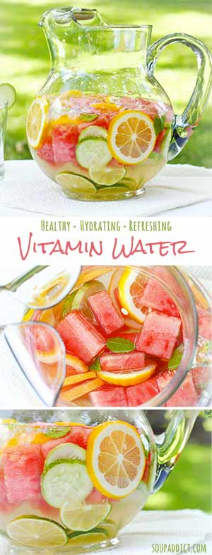 Fruit-Infused Homemade Vitamin Water - Recipe at SoupAddict.com