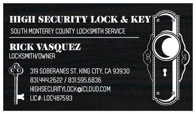 High Security Lock & Key