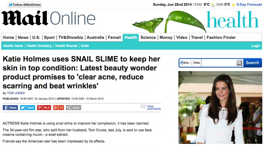 skin care with snail secretions UK Mailonline Katie Holmes