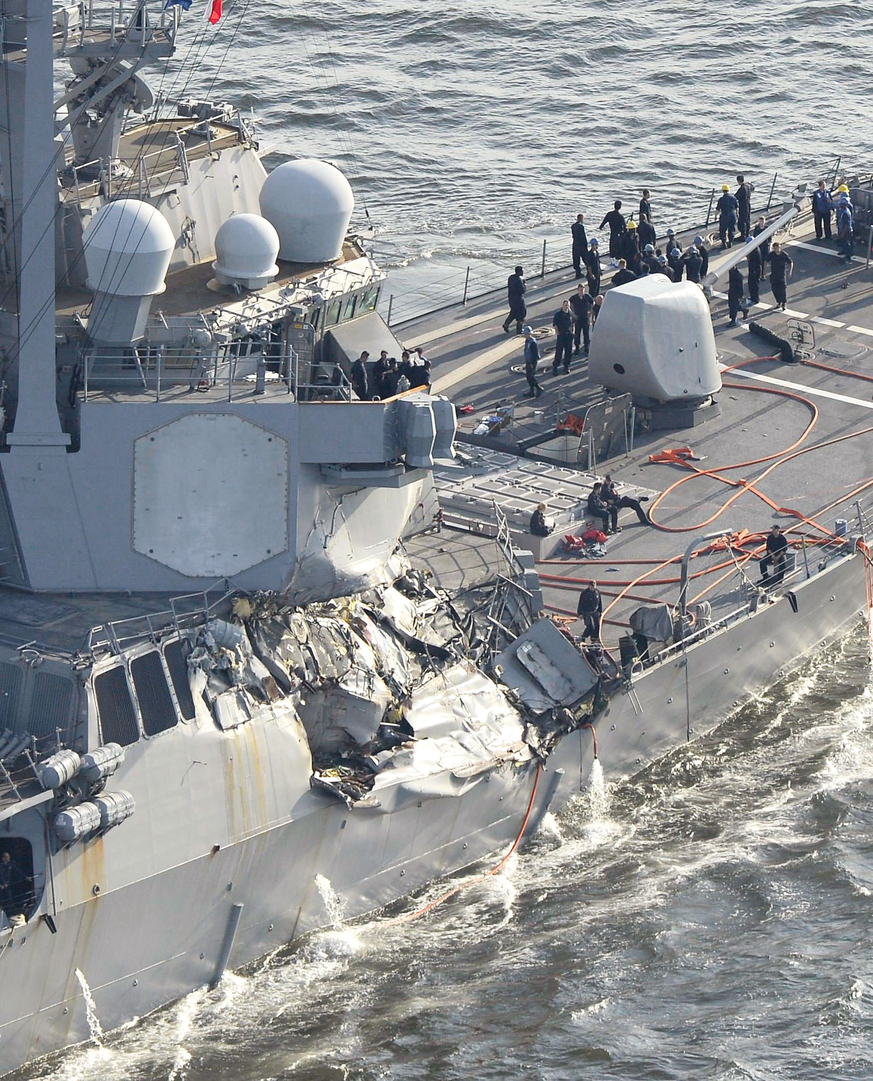 U.S. Navy ship collides with container ship off Japan