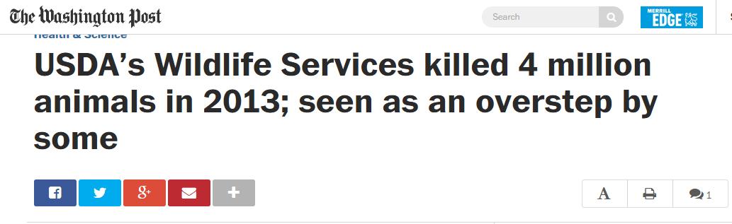 Washington Post USDA Wildlife Services headline