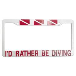 LICENSE PLATE FRAME -  RATHER BE DIVING