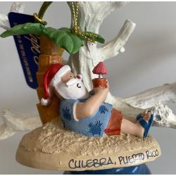 Resin Ornament Santa under Palm
