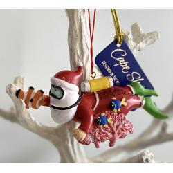 Resin Ornament Santa Scuba