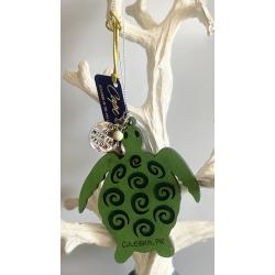 Laser Cut Wood Turtle Ornament w/Metal Charm