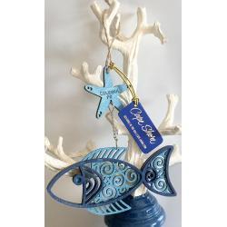 Laser Cut Wood Ornament - Batik Fish