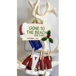 Wood Ornament - Gone To The Beach Santa