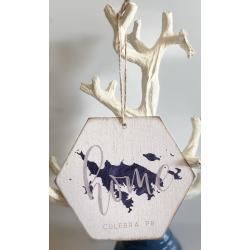 Wood Ornament - Culebra Map