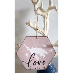 Wood Ornament - Culebra Map/Love