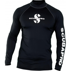Swim Rash Guard Mens, Long Sleeve (UPF50)- Black