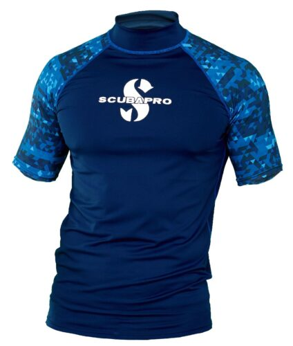 Aegean Rash Guard Mens, Short Sleeve (UPF50)- Blue