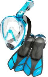 Cressi Duke & Bonete Mask Snorkel Fin Combo M/L-L/Xl Translucent Aquamarine