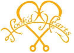 Hook'D Up Hook'D Hearts Decal 7 X 9 Inch Orange