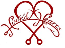 Hook'D Up Hook'D Hearts Decal 7 X 9 Inch Red