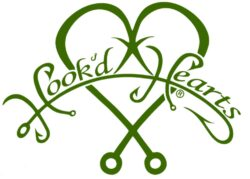 Hook'D Up Hook'D Hearts Decal 7 X 9 Inch Teal