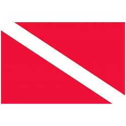 Marine Sports Dive Flag Vinyl Decal 4 Inch X 3 Inch Red