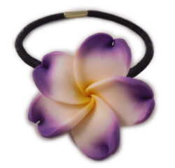 Charming Shark Flower With White Hair Tie Elastic Purple