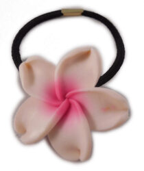 Charming Shark Flower With White Hair Tie Elastic Pink