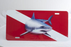 Marine Sports Air Brush Great White Dive Flag Plate Red/White