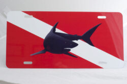 Marine Sports Air Brushed Dive Flag W/Shark Plate Red