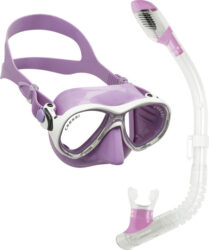 Cressi Child Marea Jr {Col.Ed.] & Mini Dry Mask Snorkel Combo Lilac