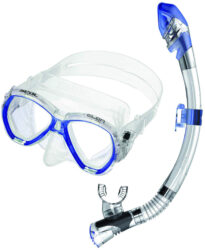 Seac Child Set Bis Elba Md Dry S/Kl Blue Mask Snorkel Combo Junior Blue/Clear