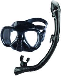 Seac Child Set Bis Elba Md Dry S/Bl Black Mask Snorkel Combo Junior Black