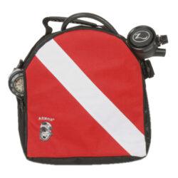 Armor Bags Dive Flag Regulator Large Bag 12 Inch X 12 Inch Red/Black