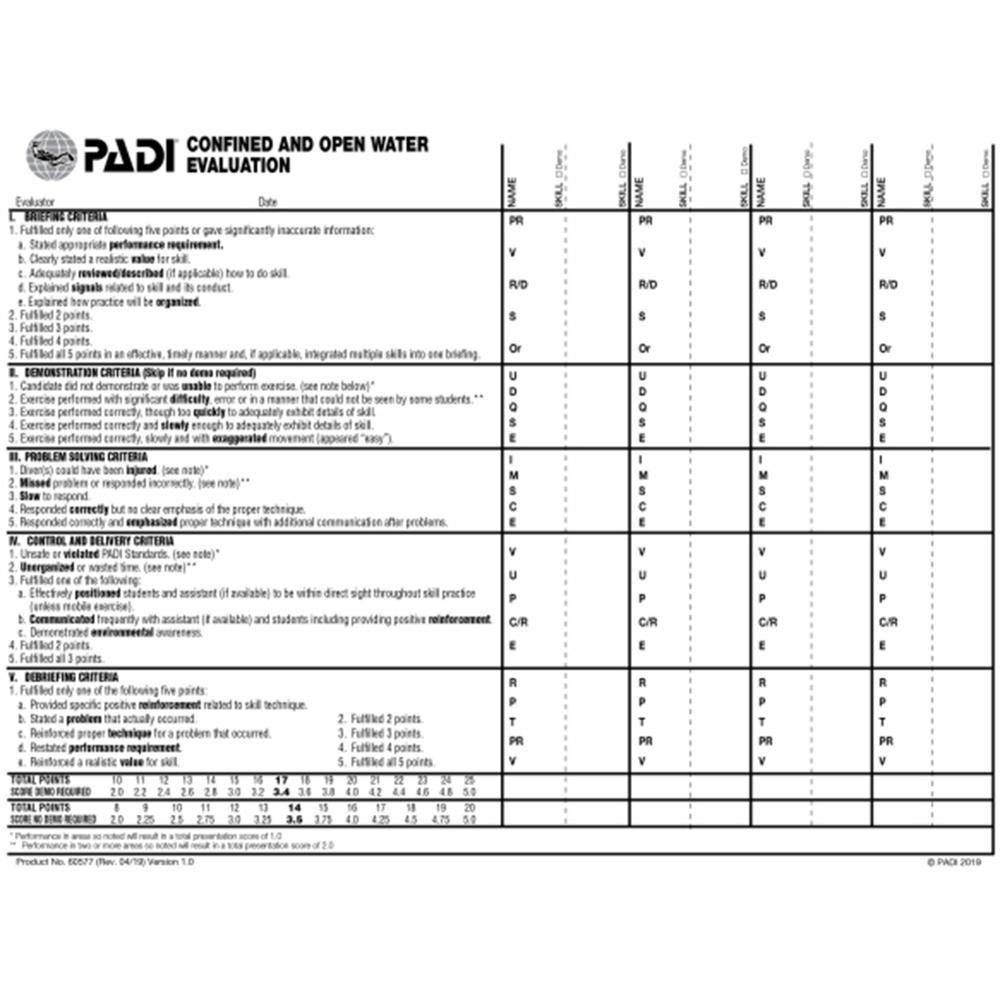 PADI Skill Evaluation Slate Product No BRAND NEW 60228