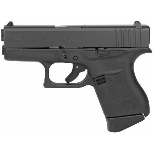 "Glock, 43, Semi-automatic, Striker Fired, Sub Compact, 9MM, 3.41"" Barrel, Polymer Frame"