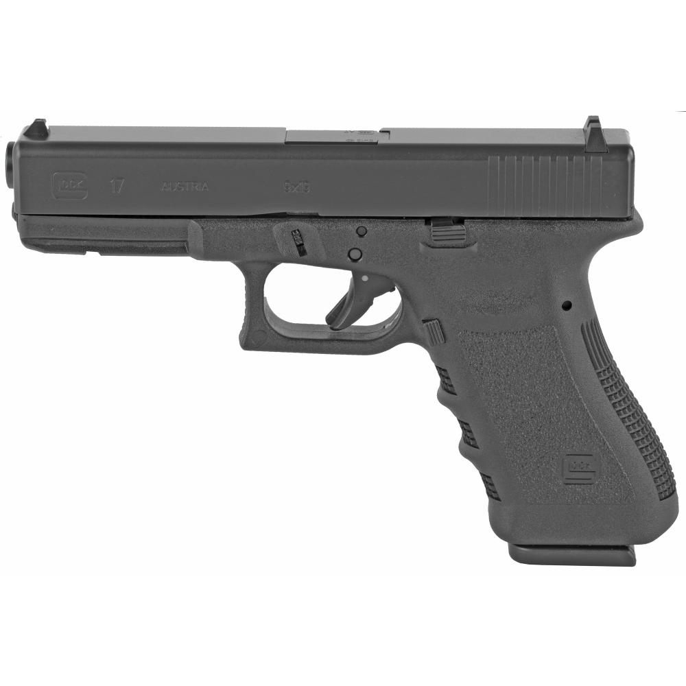 """Glock, 17, Semi-automatic, Safe Action, Full Size, 9MM, 4.49"""", Black, 17Rd, 2 Mags, Glock OEM Rail"""