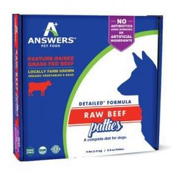 ANSWERS RAW DOG BEEF PATTIES 4lb DETAILED