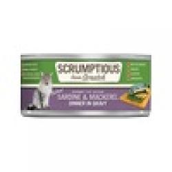 CASE SCRUMPTIOUS CAT SARDINE & MACKEREL 2.8 OZ CASE OF 12 CANS