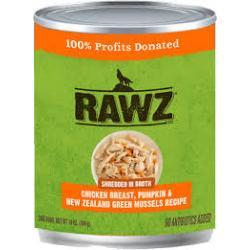 CASE RAWZ DOG SHREDDED CHICKEN W/ PUMPKIN & NEW ZEALAND GREEN MUSSELS 14oz CAN