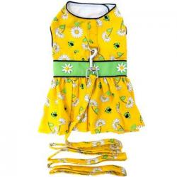 Ladybugs and Daisies Dog Dress with Matching Leash MED