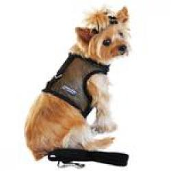 Cool Mesh Dog Harness - Solid Black and Matching Leash LARGE