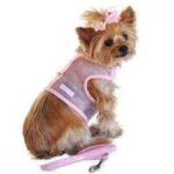 Cool Mesh Dog Harness - Solid Pink and Matching Leash SMALL