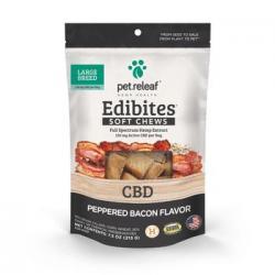 PET RELEAF TREATS Edibites Soft Chews GF Peppered Bacon Large Breed 7.5oz BAG
