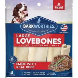 BARKWORTHIE DOG LOVE BONE BEEF LG 3PK